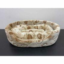 Bézs szíves ovális kutyaágy, fekhely (40x55cm)
