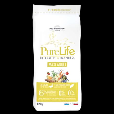 Pure Life Maxi Adult hipoallergén Kutyaeledel száraztáp Kacsával és fehér hallal 12kg